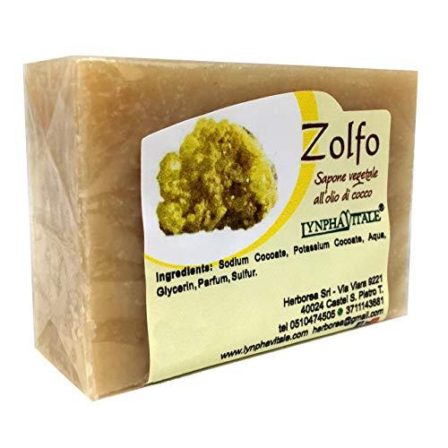 Jabón de azufre - Jabón artesano 100% natural y vegetal - Jabón refrescante de azufre ideal para pieles grasas - Fabricado en España