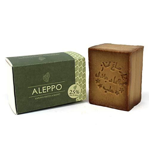 Jabón de Alepo original con 25% de aceite de laurel - Receta tradicional - Alepo 100% puro y natural - Producto artesanal - Jabón precioso para el tratamiento ...