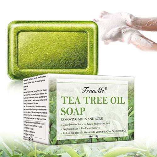 Jabón natural, jabón de barras, jabón anti-acné, jabón natural con aceite de árbol de té, jabón facial, lucha contra el acné, piel suavizada, anti-manchas