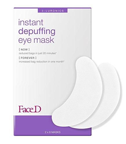 Faced - Máscara ocular antifatiga de acción inmediata con ácido hialurónico y extractos de té verde, 8 piezas