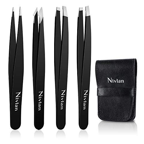 Pinzas para cejas, Nivlan, 4 pinzas profesionales para cejas, acero inoxidable para la depilación de pieles encarnadas, herramienta de belleza diaria para ...