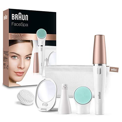 Depilador Braun FaceSpa 851V 3 en 1 para la cara, con cepillo de limpieza para depilar, limpiar y revitalizar la cara, con baterías adicionales incluidas