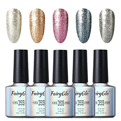 5pcs LED UV Gel Semi-Permanente Esmalte de uñas Conjunto de manicura Soak Off Uñas Gel Esmalte 10 ml por Fairyglo-Kit 58001