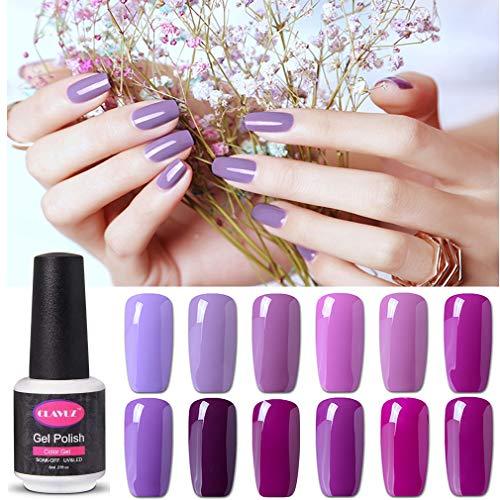 Esmalte de uñas Gel Clavuz Soak off Kit de mejora de las uñas UV LED Kit de 8 ml 12pcs - Serie púrpura elegante
