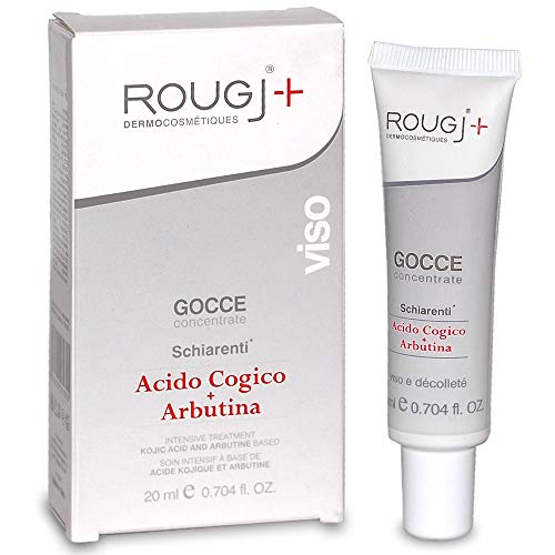 Rougj - Gotas de iluminación del suero facial con ácido kójico y arbutina - 20 ml