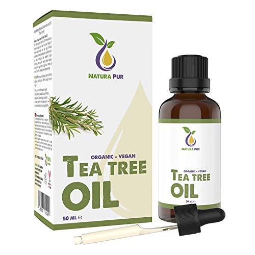 Aceite puro de árbol de té 50 ml con pipeta - Aceite esencial australiano 100% orgánico y natural - Apoyo contra imperfecciones de la piel, acné y puntos negros, hongos del ...