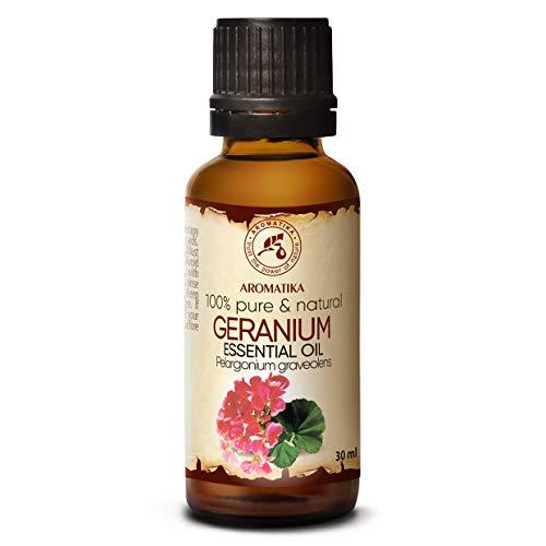 Aceite esencial de geranio borbónico 30 ml - Pelargonium graveolens - Madagascar - Geranio rosa 100% puro y natural para la belleza - Aromaterapia - Baño aromático ...