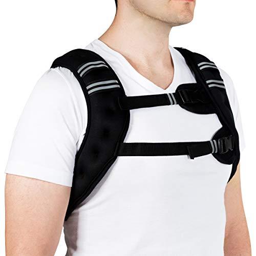 Chaleco de peso Goplus de 5 kg, chaleco de entrenamiento para hombres y mujeres, llena de arena de hierro, chaleco pesada con correa ajustable, negro