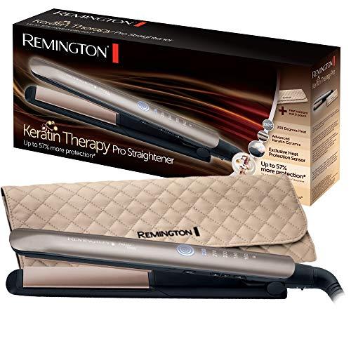 Remington S8590 Keratin Therapy Pro Planceta, recubrimiento de cerámica y queratina, 160 ° - 230 °, marrón dorado