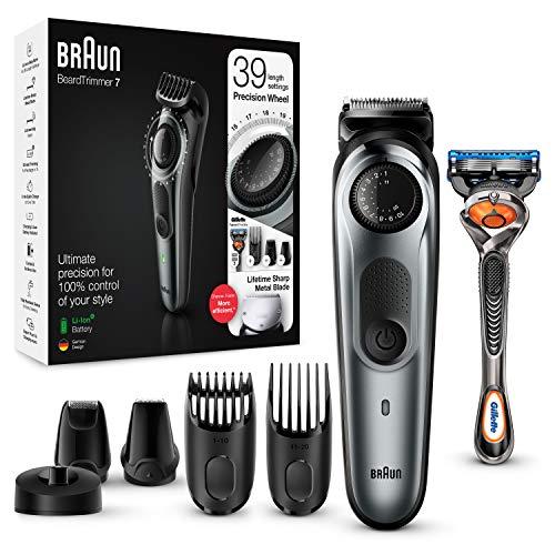 Cortadora de barba y talla de pelo Braun BT7240 para hombre, hojas metálicas, diseñado para durar *, motor adaptativo, paquete de plástico 85% menos