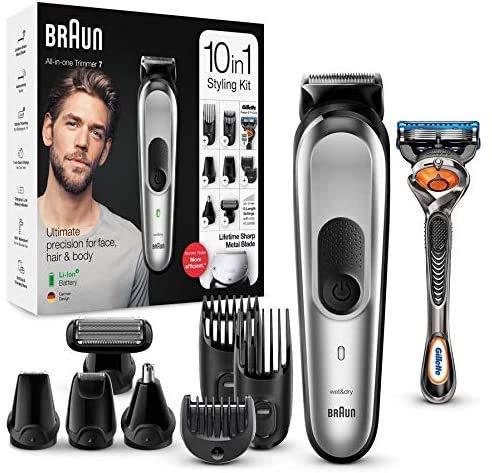 Cortadora 10-en-1 Braun MGK7220, cortadora de barba para hombre, cortadora para el cabello y cortadora corporal con 8 accesorios, base de carga y tecnología AutoSense, gris plata