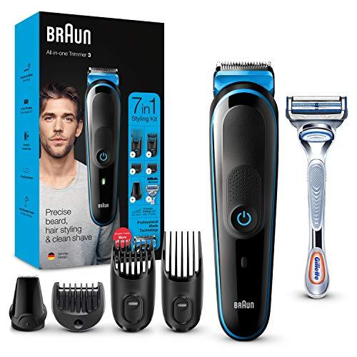Braun MGK3242 7-En-1 Negro / Azul cortadora, cortadora por barba, cortadora para el cabello y cortadora facial con 5 accesorios, incluida la máquina de afeitar Gillette SkinGuard, ...