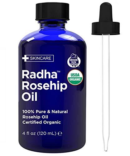 Radha Beauty - Aceite de rosa mosqueta orgánico certificado USDA - 120 ml con tratamiento hidratante anti-envejecimiento natural para la cara, el pelo, la piel y las uñas, cicatrices de ...