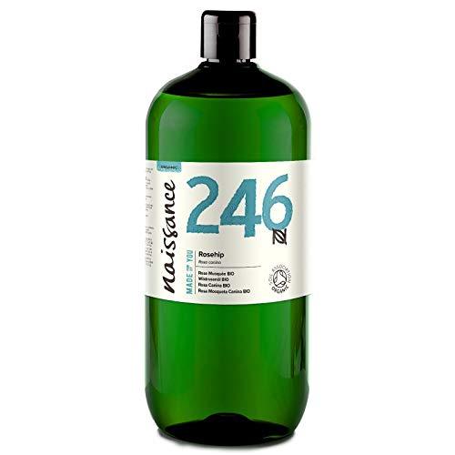 Naissance Rosehip Organic Certified Organic 1L - Hidratante, nutritivo y emoliente para todo tipo de pieles - Útil para la cara, el pelo y las uñas