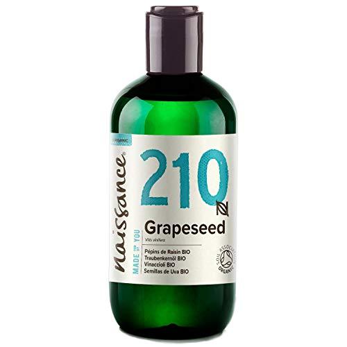 Aceite de semilla de uva orgánico Naissance - 100% aceite vegetal puro - 250 ml