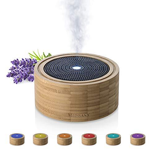 Difusor de aromas de bambú MEDISANA AD 625, nebulizador de madera con luz de bienestar en 6 colores, para aceites esenciales perfumados, luz perfumada con temporizador, 100 m