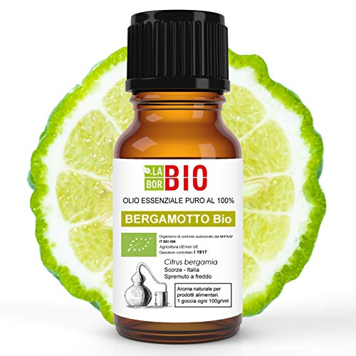 Aceite esencial bio de bergamota de Calabria 100% puro 10 ml - Difusores de alimentos terapéuticos de uso interno Aromaterapia Cocina cosmética - LaborBio