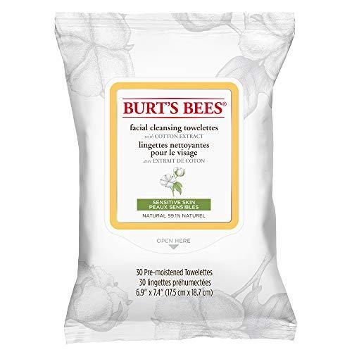 Burt Bees: toallitas de algodón extraído, limpieza facial sensible, 30 puntos