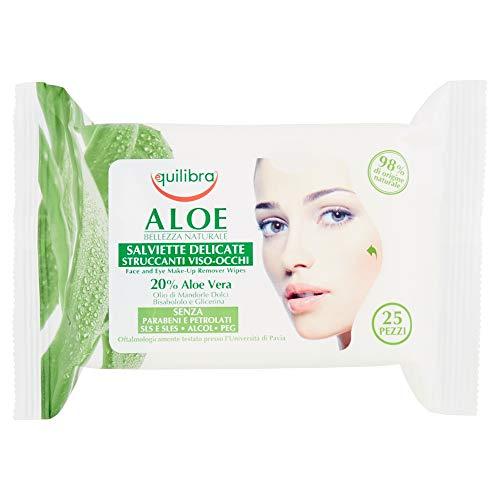 Equilibra las toallitas para desmaquillar la cara y los ojos, Aloe Vera, toallitas para la cara y para los ojos, elimina los residuos y las impurezas del maquillaje, la tela ...
