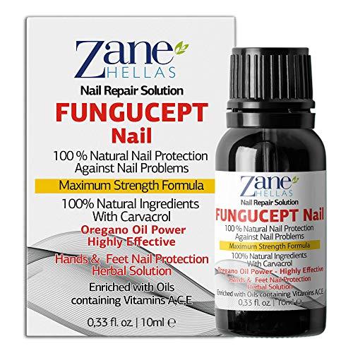 Zane Hellas FunguCept Nail.  Solución de uñas por hongos.  Fungus Nail Solución para las uñas descoloridas, engrosadas, desmenuzadas y hongos.  Resultados visibles en 4 ...