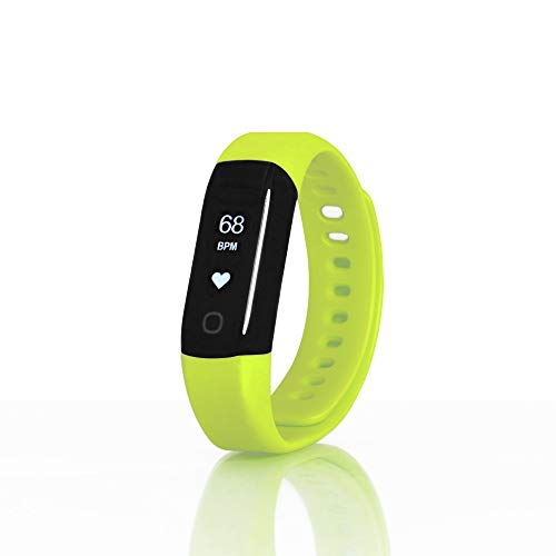 Pulsera deportiva Sharon Wellsmart, seguimiento físico, pulsómetro, impermeable, compatible con Apple Health Google Fit, verde