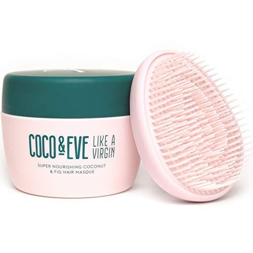 Coco & Eve Like a Virgin Hair Mask |  Máscara hidratante para el cabello |  Máscara de cabello seco |  con coco y higos y cepillo de pelo desenredante (212ml)