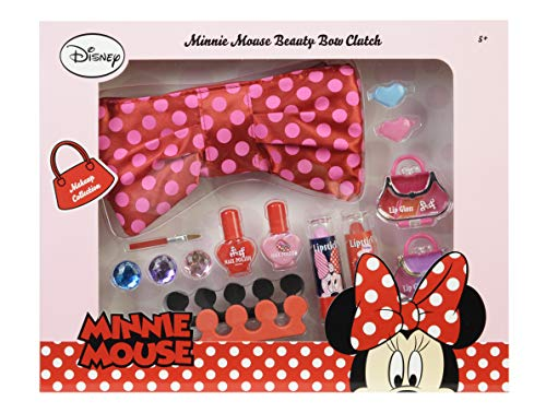 Markwins Minnie Mouse Elegante estuche de maquillaje y conjunto de belleza con maquillaje soluble en agua para niños, joyas frescas y separadores de dos dedos