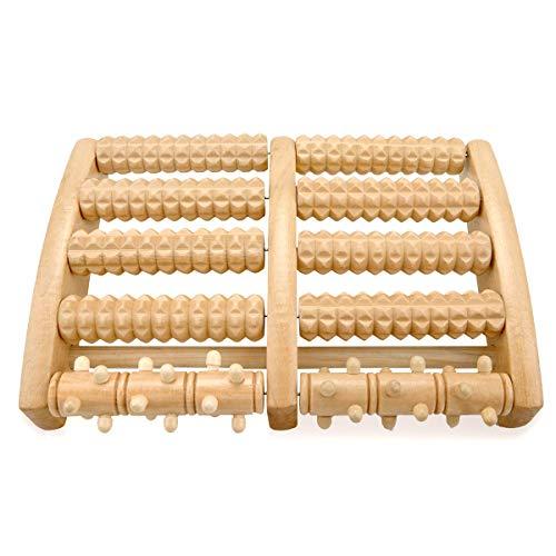Rodillo de masaje de pies Osaloe, rodillo de madera doble para edema, fascitis plantar, alivio del dolor del pie, alivio del estrés