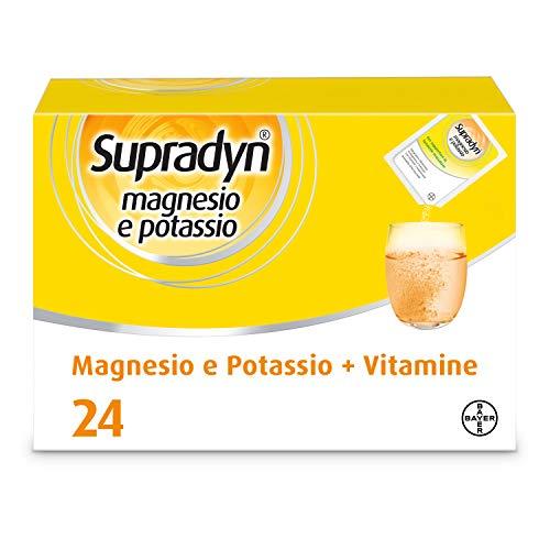 Suplemento alimenticio de magnesio y potasio Supradyn con vitaminas para el cansancio y la fatiga, sin gluten, sabor naranja, 24 sobres