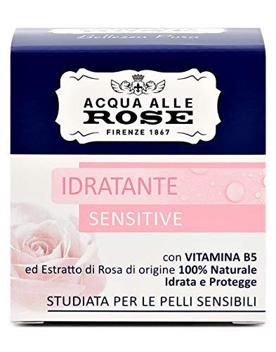Agua de rosas, crema facial hidratante sensible, con vitamina B5 y extracto de rosa 100% de origen natural, piel seca o sensible, 50 ml