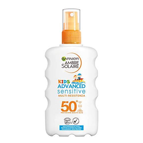 Garnier Ambre Solaire IP 50+ Spray protector infantil avanzado sensible para niños, muy alta protección, multirresistencia, 200 ml