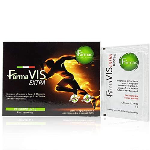 Farmac, magnesio y potasio con cafeína, taurina y vitamina B1, B6, B12 |  Energía y focos inmediatos |  20 sobres |  Suplementos de fatiga Magnesio de potasio ...