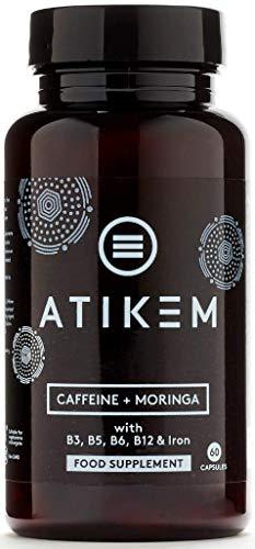 Cápsulas de cafeína de Moringa Atika |  200mg de cafeína |  Aumento de la energía natural nootrópico |  enfoque |  Entrenamiento previo |  60 pastillas veganas sin gluten premium