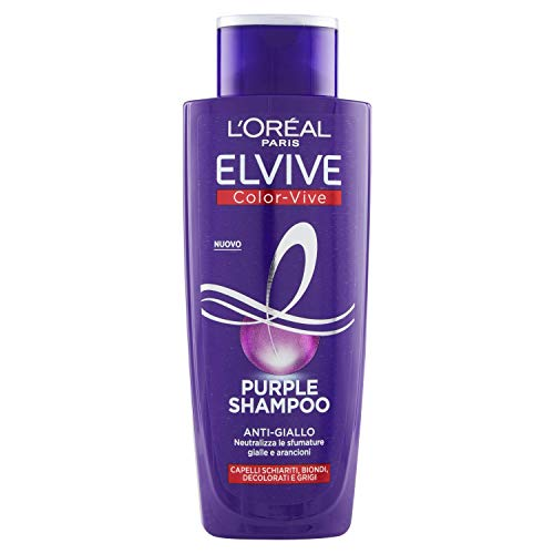 Champú anti-amarillo L'Oréal Paris Color Vive Purple, champú anti-amarillo para cabellos decolorados, decolorados, decolorados y grises, 200 ml