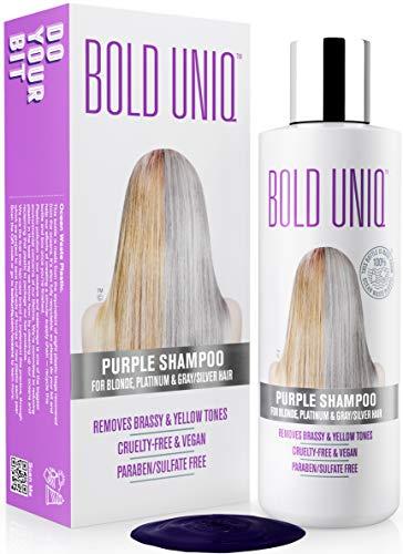 Champú anti-amarillo para cabellos rubios - Tóner para el pelo - Champú plateado para tonos violetas - Revitaliza el pelo rubio blanqueados, blanqueados y resaltados - Libre de ...
