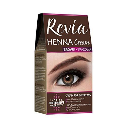 Recibía Henna, Delineator de crema para pestañas y cejas, negro y marrón, 10 kit de aplicaciones (versión en inglés)