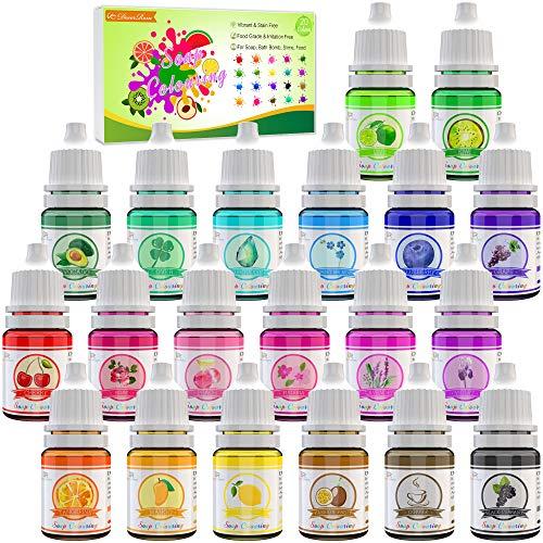 20 colorantes de jabón: tinte de bomba de baño para fabricar jabón: colorante de jabón líquido concentrado para bombas de baño, jabones de bricolaje ...