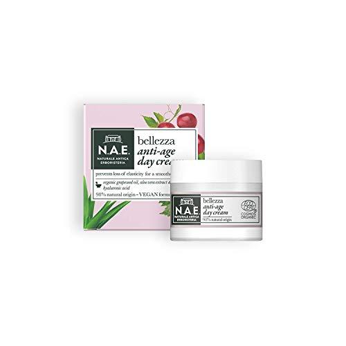 Crema de día anti-envejecimiento NAE Beauty, crema facial con aceite de semillas de uva y extracto orgánico de aloe vera y ácido hialurónico, fórmula vegana, 50 ml