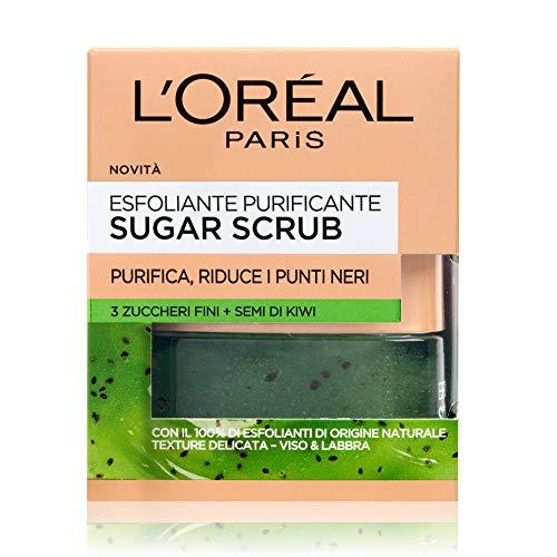 L'Oréal Paris Exfoliante facial para labios y labios Exfoliante purificador con cristales de azúcar fino y semillas de kiwi, 50 ml, 1 paquete