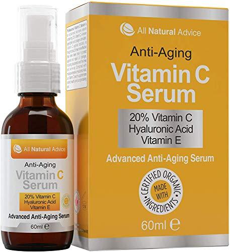 20% de suero de vitamina C • Totalmente orgánico • Enorme 60 ml • Vitamina E • 11% de ácido hialurónico • Hidratante • Excelente para pieles sensibles • ...