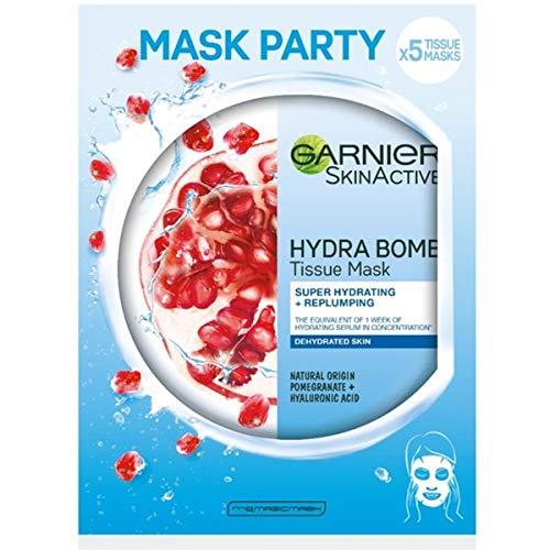 Garnier SkinActive, máscara de hoja hidratante y energizante Hydra Bomb, para piel deshidratada, granada, paquete de 5