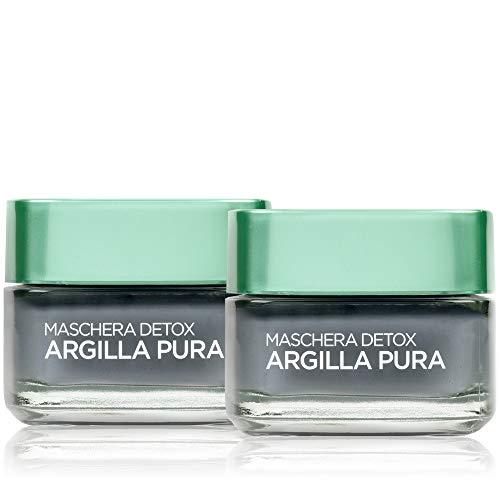 L'Oréal Paris Tratamientos Face Mask Face Pure Clay Detox con carbón vegetal, desintoxica e ilumina la piel, 50 ml, 1 paquete de 2 unidades