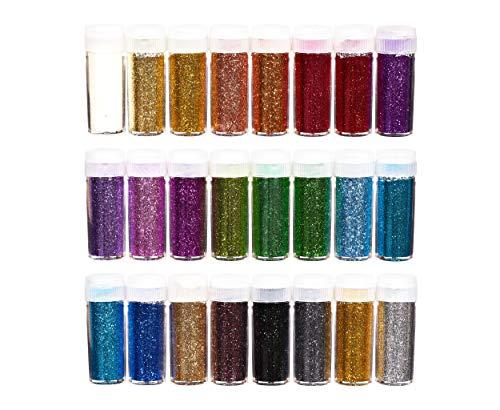 perfecto ideaz kit de polvo de purpurina de colores de 24 x 10 g (240 g), 24 colores, hacer trabajos manuales en frasco con tapa con tamiz, arena decorativa para ...