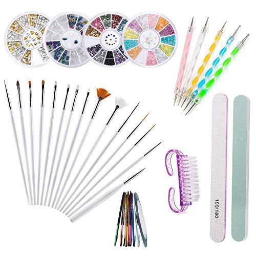 Joey 37 unidades Conjunto de arte para uñas, pinceles para uñas Herramientas para uñas Joyas Decoraciones de uñas para principiantes aficionados