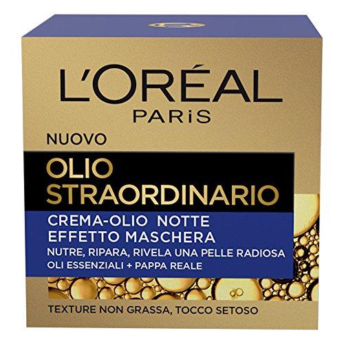 Crema facial nocturna con aceite extraordinario L'Oréal Paris, tratamiento nutritivo, enriquecido con aceites esenciales y jalea real, 50 ml, 1 paquete