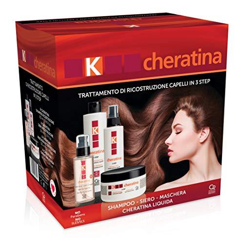 K-queratina: tratamiento profesional para el pelo débiles y dañados: contiene champú reestructurante, suero de relleno, máscara de reconstrucción y ...