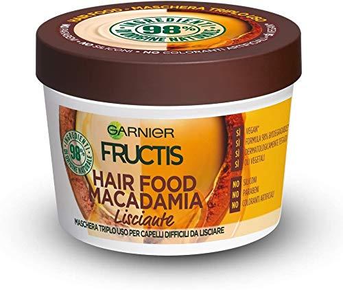 Máscara suavizante para alimentos para el cabello Garnier Fructis, máscara domadora 3 en 1 con fórmula vegana para el cabello difícil de enderezar, Macadamia, 390 ml