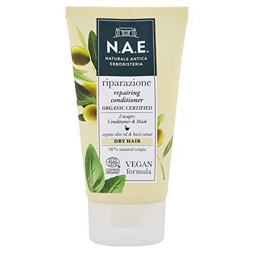 Máscara de cabello reestructurante NAE para la reparación del cabello seco, acondicionador con aceite de oliva y albahaca orgánica, fórmula vegana, 150 ml