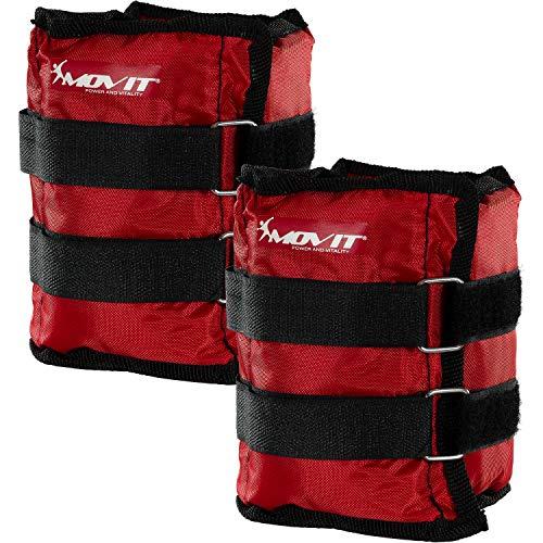 Conjunto MOVIT Twin de pesos en la muñeca o en el tobillo, armaduras, pesos de 2,0 kg, puños de peso de colores rojos / pesos: 2x 2,0 kg