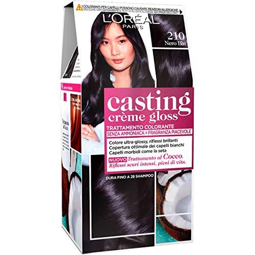 L'Oréal Paris Tinte para el pelo Crema Gloss Crema, Tinte para el pelo sin amoniaco para una fragancia agradable, 210 Azul